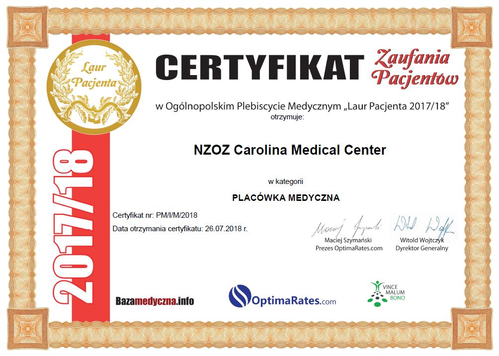 """Certyfikat Zaufania Pacjentów w Ogólnopolskim Plebiscycie Medycznym """"Laur Pacjenta 2017/18""""."""