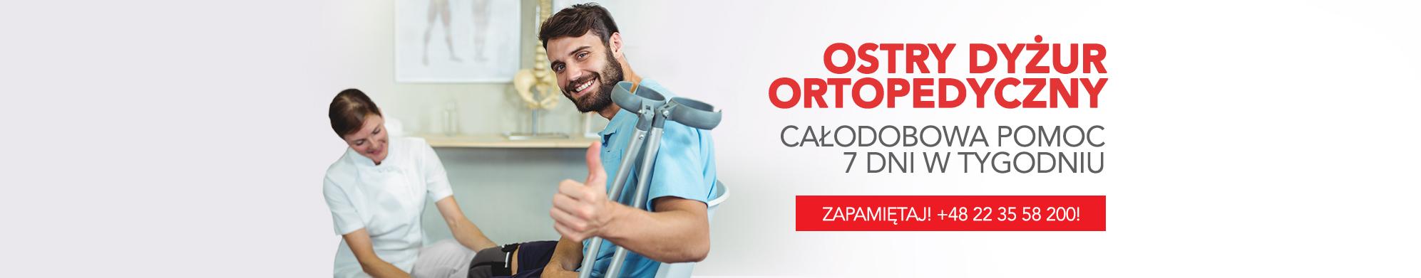 Ostry Dyżur Ortopedyczny czynny jest 24 godziny na dobę przez 7 dni w tygodniu.